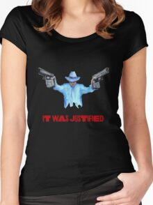 "Raylan Givens, ""It was Justified"" Red words (like the official screen title) T-Shirts Women's Fitted Scoop T-Shirt"
