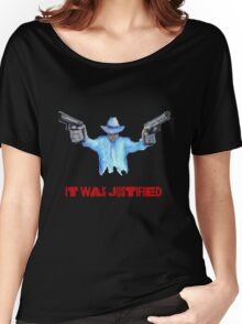 "Raylan Givens, ""It was Justified"" Red words (like the official screen title) T-Shirts Women's Relaxed Fit T-Shirt"