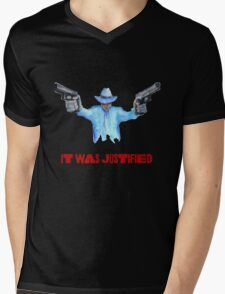 """Raylan Givens, """"It was Justified"""" Red words (like the official screen title) T-Shirts Mens V-Neck T-Shirt"""