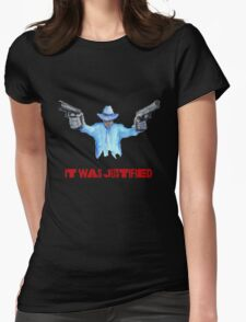 "Raylan Givens, ""It was Justified"" Red words (like the official screen title) T-Shirts Womens Fitted T-Shirt"
