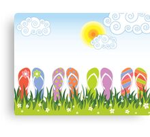 Flip Flops Having Fun in the Sun Canvas Print