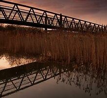 Upton Footbridge Golden Hour Reflections by Ralph Goldsmith