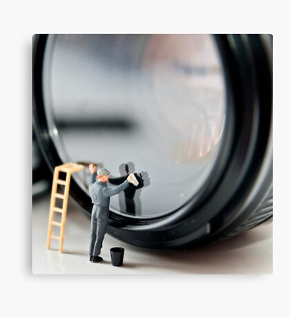 Cleaning a Lens (Micro world no 1) Canvas Print