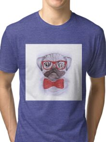Cute funny watercolor pug with red glasses and bow hand paint Tri-blend T-Shirt