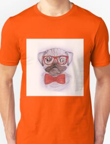 Cute funny watercolor pug with red glasses and bow hand paint Unisex T-Shirt