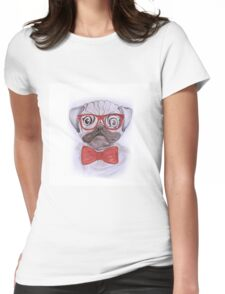 Cute funny watercolor pug with red glasses and bow hand paint Womens Fitted T-Shirt