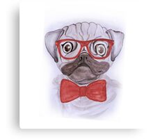 Cute funny watercolor pug with red glasses and bow hand paint Canvas Print