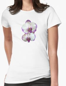 White Phalaenopsis Orchids With Purple Edges Womens Fitted T-Shirt