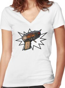 Atomic Space Gun Women's Fitted V-Neck T-Shirt