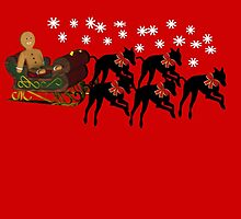 Greyhounds Gingerbread Man Sleigh Holiday  by SmilinEyes