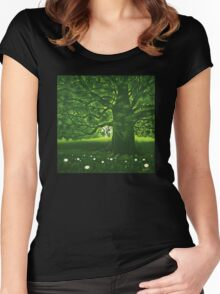 Greenman - acrylic painting Women's Fitted Scoop T-Shirt
