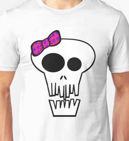Crazy White Skull with Bow Unisex T-Shirt