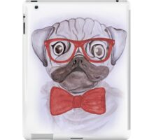 Cute funny watercolor pug with red glasses and bow hand paint iPad Case/Skin