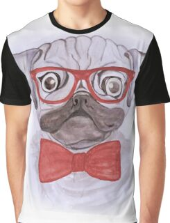 Cute funny watercolor pug with red glasses and bow hand paint Graphic T-Shirt