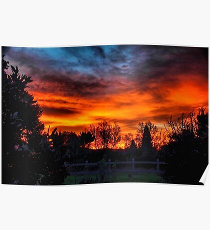 A beautiful colorful winter sunset Poster