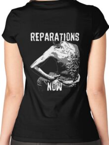 REPARATIONS NOW BATTERED SLAVE BACK SHIRT. (DARK) Women's Fitted Scoop T-Shirt
