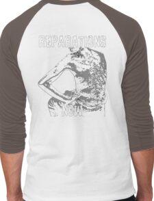 REPARATIONS NOW BATTERED SLAVE BACK SHIRT. (DARK) Men's Baseball ¾ T-Shirt