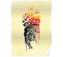Painted watercolor tiger Poster