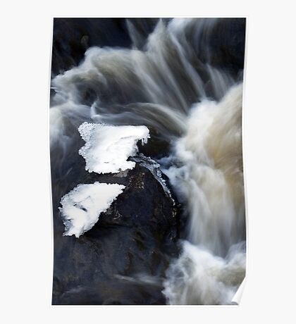 Spring and melting ice on a riffle Poster