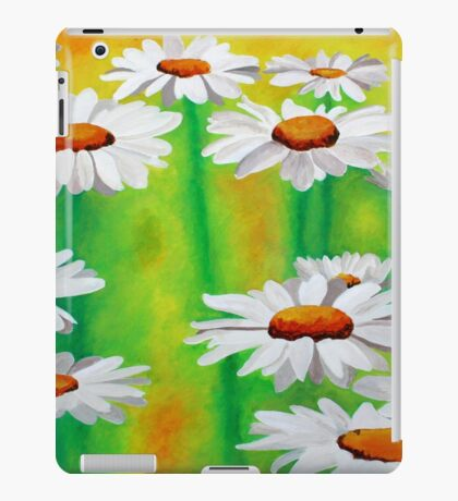 White Daisies On A Yellow And Green Summery Background iPad Case/Skin