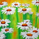 White Daisies On A Yellow And Green Summery Background by taiche
