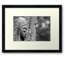 Black & White Stone Statue Framed Print