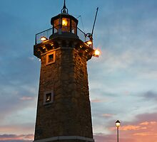 Desenzano del Garda Old Lighthouse and a Lamp Post Sunrise by kirilart