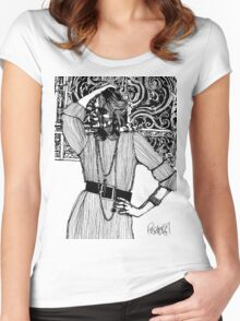 B&W Fashion Illustration - Pin Striped Women's Fitted Scoop T-Shirt