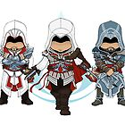 Assassin's Creed: Ezio Auditore Chibi Trio: Animus Edition by SushiKittehs