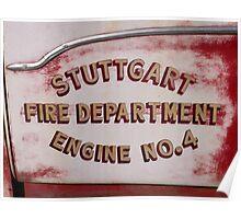 Vintage Fire Truck Door Poster