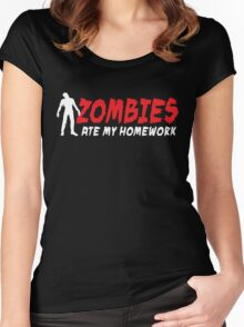 Zombies ate my homework Women's Fitted Scoop T-Shirt