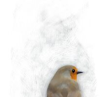 Painting of a Robin with Scratchy Background by astralsid