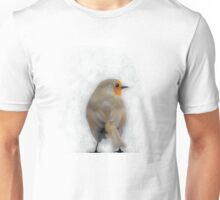 Painting of a Robin with Scratchy Background Unisex T-Shirt
