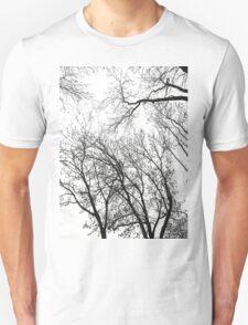 Black/White Winter Trees Unisex T-Shirt