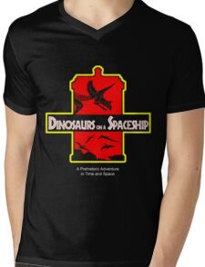 Dinosaurs on a Spaceship Mens V-Neck T-Shirt
