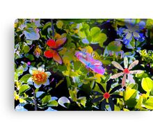 Butterflies and flowers and a little sprinkle Canvas Print