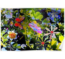Butterflies and flowers and a little sprinkle Poster