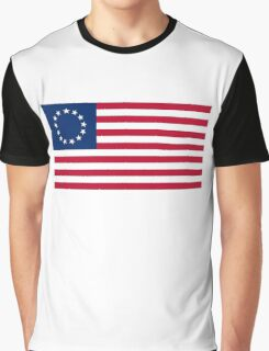 AMERICA, Betsy Ross, flag, Revolution, Stars and Stripes, Star Spangled Banner, America, American, USA, Americana Graphic T-Shirt