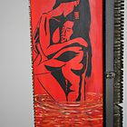 love passion red erotic couple modern art painting by addicted2joy