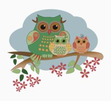 Mother Owl and her Babies, cute Tee design by walstraasart