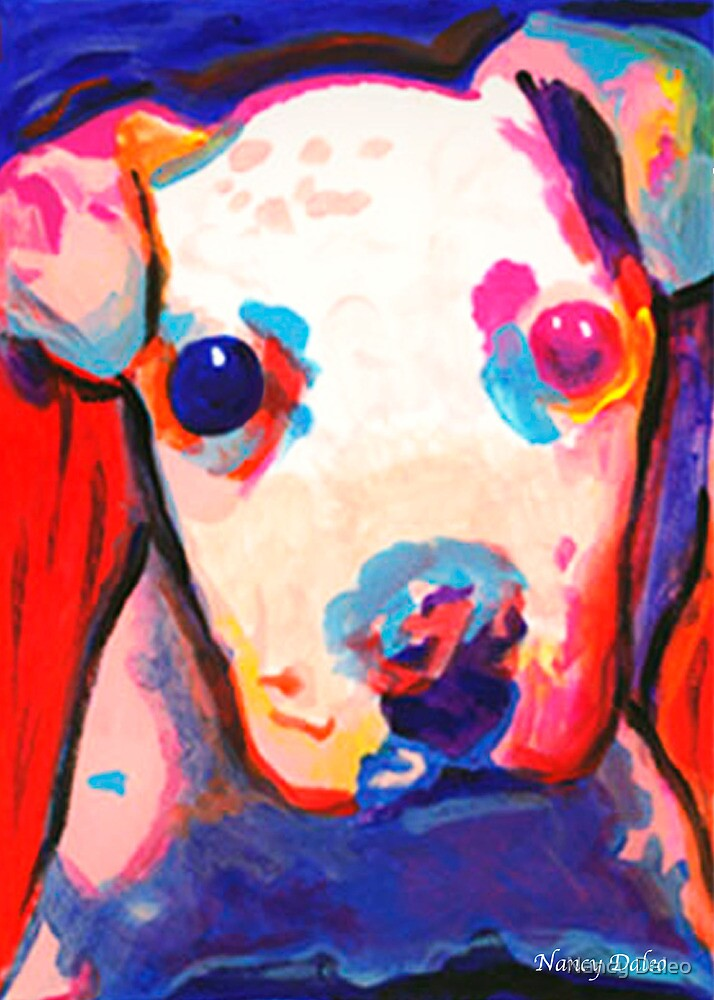 Color Me dog 2  Pit Bull puppy  contemporary art by Nancy Daleo