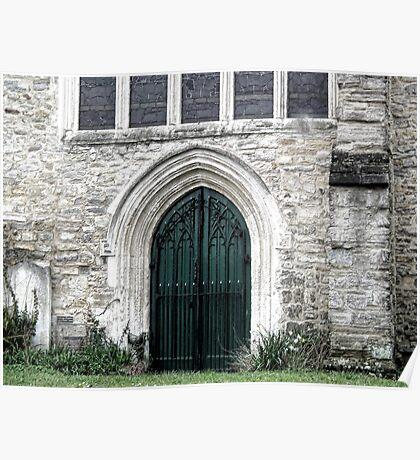 Green Door Of Axminster Church, Devon UK Poster