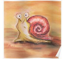 Snail with a red shirt Poster