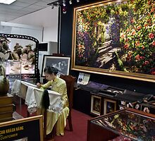 Vietnam. Ho Chi Minh City (Saigon). Silk Embroidery shop at the airport. by vadim19