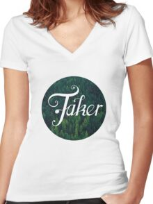 BlueFakerForest No3 Women's Fitted V-Neck T-Shirt