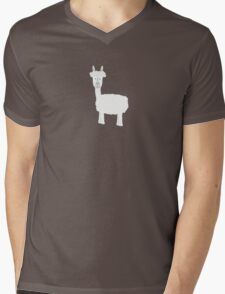 White Alpaca Mens V-Neck T-Shirt