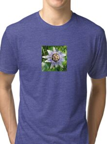 Passiflora Against Green Foliage In A Garden Tri-blend T-Shirt