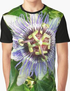 Passiflora Against Green Foliage In A Garden Graphic T-Shirt