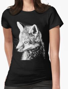 White Fox Scratchboard Womens Fitted T-Shirt