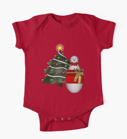 Cute Snowman Tree Christmas Holiday  One Piece - Short Sleeve